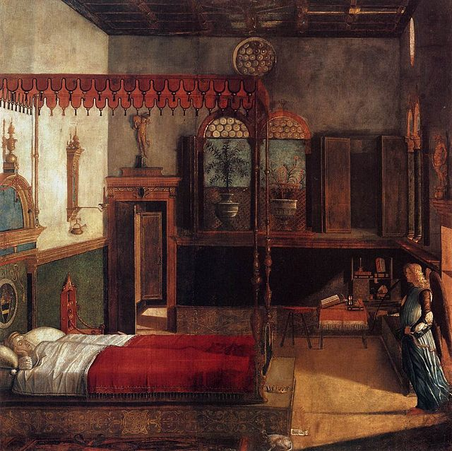 O sonho de Santa Úrsula, 1495; tempera sobre tela, 274 x 267 cm Gallerie dell'Accademia, Veneza.