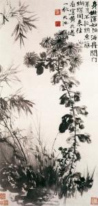 Crisântemos e bambus (菊竹图), Xu Wei, Museu Liaoning